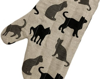 """Diner oven gloves, baking glove, potholders, cooking-mitts """"Kitty"""" cat (12"""" x 5,5""""/8,6"""") linen/cotton, Mother's Day, gift"""