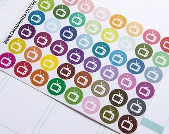 48 retro TV reminder stickers, sticker TV shows stickers, planner stickers, television tv stickers eclp filofax happy planner kikkik