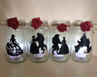 beauty and the beast wedding centerpiece lantern jar belle Disney ideal for party decor gift decorating tables Christmas bridal shower wed