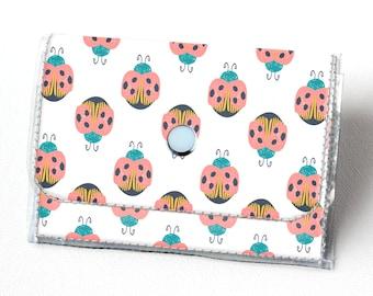 Handmade Vinyl Accordion Wallet - Ladybug / small wallet, snap, cute, card case, vinyl wallet, women's wallet, vegan wallet, bug wallet