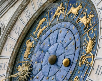 Clock wall print | venice photography | astrology wall print | zodiac wall print | blue wall clock | gold sun | italy photography with blue