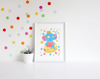 Jelly Donut Elephant Art Print