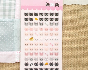 Stickers - 84pcs glossy pink white grey black kitty cat face (Animal collection)