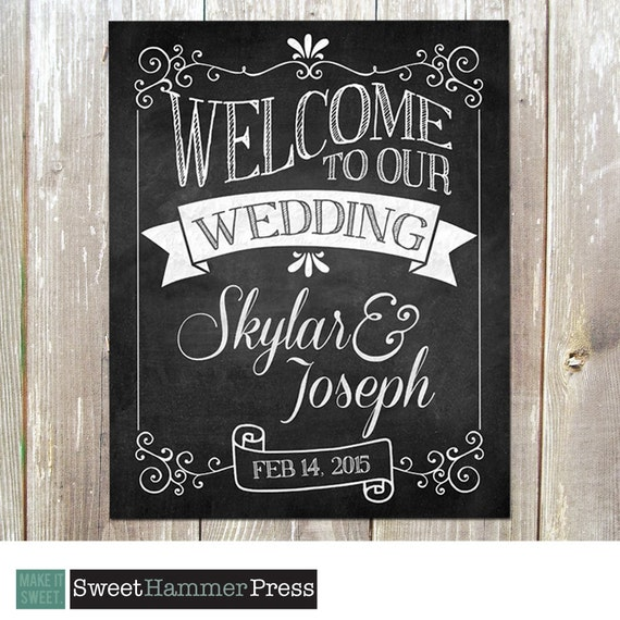 Chalkboards For Weddings: Welcome To Our Wedding Chalkboard Sign Art Print Customized