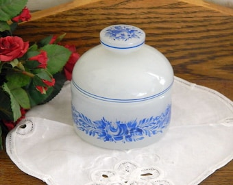 Opaque Milk Glass Vanity Jar - Trinket Box - Hand Painted Blue Roses