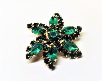 Green Brooch - Vintage, Gold Tone, Green Rhinestones, Floral Pin