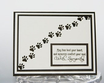 Pet Sympathy Card,  Pawprints Loss of Pet Card, Dog Sympathy Card, Cat Sympathy Card