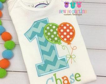 1st Birthday Boy Shirt - Balloon Birthday Shirt - Balloon Birthday Outfit - First Birthday shirt - 1st birthday boy outfit - 2nd birthday