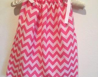 Cute little pink and white chevron pattern pillow dress