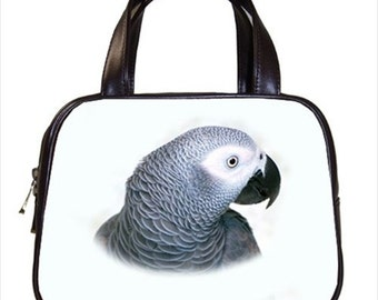 Chic Congo African Grey Bird 2-Sided Parrot Handbag Purse Ladies Bag Leather