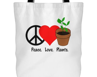 """Peace Love Plants - Large 18"""" Tote Bag - Carry All Work School Groceries Overnight Weekend Trip Market Shopping - Gardening Garden Grow Food"""