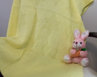 Yellow Hand Knit Baby Blanket - Baby Afghan
