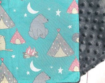 Baby boy minky blanket set - Turquoise peewee teepee -Baby blanket, bib, and burp cloth