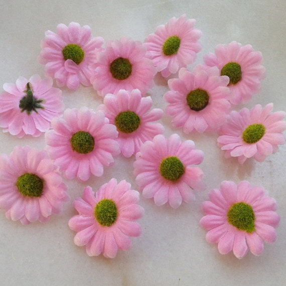 Baby pink gerbera daisy flower heads 4cm silk daisy mini for Flower heads for crafts