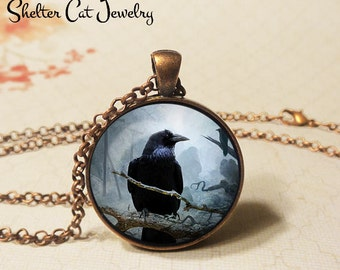 "Perched Raven at Night Necklace - 1-1/4"" Circle Pendant or Key Ring - Handmade Wearable Art Photo - Halloween Costume Trick Or Treat Spooky"