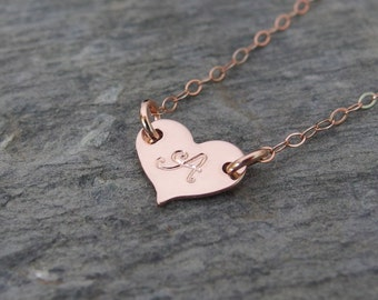 Rose gold heart necklace for mom Tiny heart necklace Simple rose gold necklace Initial gold necklace Dainty gold necklace Every day jewelry