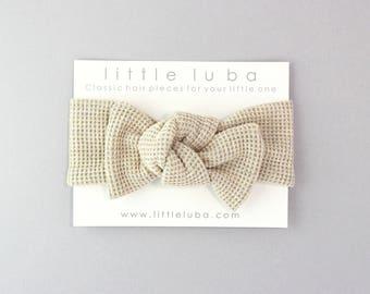 Baby Headwrap, Baby Girl Headwrap, Baby Knot Headband, Knotted Headband, Toddler Headwrap, Top Knot Headband, Baby . OATMEAL WAFFLE Headwrap