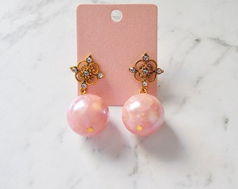 Vintage Bead Dangle Earring Pink