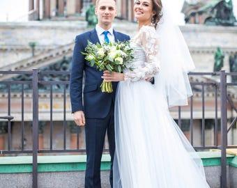 Long sleeve wedding dress/Lace simple wedding dress/White boho wedding dress/Summer Ivory Rustic wedding dress/Skirt Tulle Detachable train