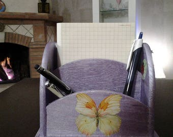 Wooden pen holder for teenage girl with lilac flowers