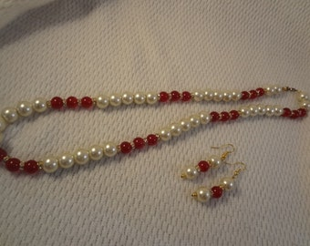 Faux Pearl with Red Beaded Costume Jewelry Necklace and Earring Set - F004