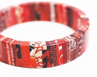 Red Revolution Recycled Magazine Eco Friendly Bangle Bracelet