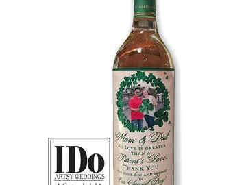 Parents of the Bride and Groom Wine Label - Irish Wine Label - Bride Gift to Mom -Thank You Mom & Dad - Personalized - 2 Labels
