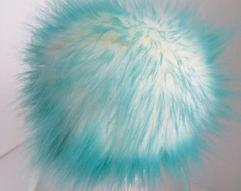 Luxury Aqua Faux Fur Pom Pom