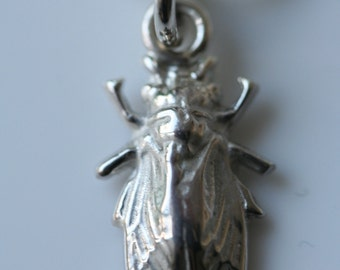 "Fly pendant - sterling silver charm on 16"" silver snake chain"