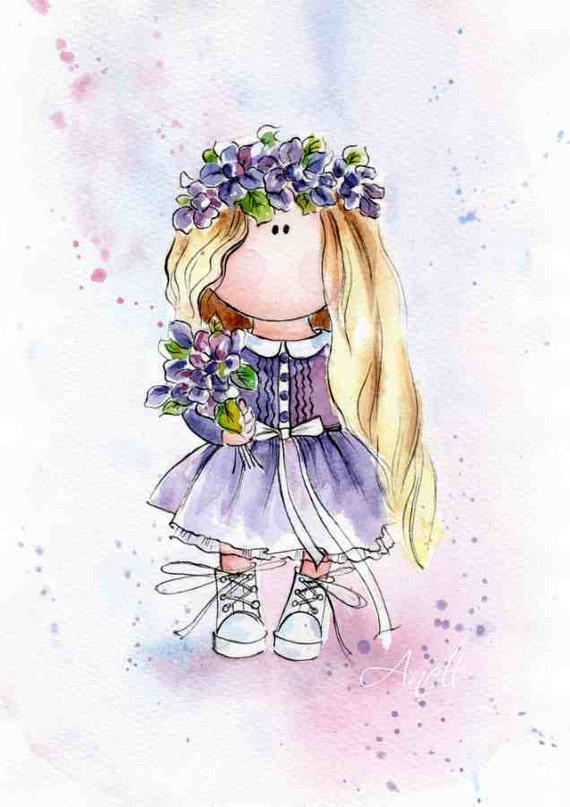 Watercolor Print Little Blonde Haired Girl Violet Little