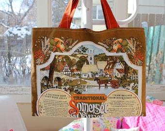 """Upcycled Somerset Souvenir Tote, 18 """"x 14"""", Lebensmittelgeschäft Einkaufstasche, Bibliothek-Einkaufstasche, OOAK, Eco Tasche, Somerset und Dorset, Rezept Geschirrtuch, Vintage"""