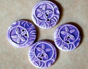 4 Handmade Ceramic Starflower Buttons - Flower buttons in Lovely Lavender