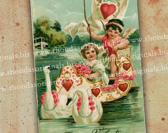 Digital Valentine Cherubs Postcard INSTANT Download - Two Angels Swan Sailboat For ATC, Aceo Scrapbooking Cards Tags - Paper Art Crafts PC6