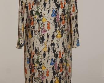 Colorful dress with human figures, A-line dress, print, size EU 38/40 (USA 8/10 - UK 10/12), Italian crepe fabric