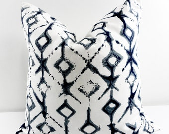 Indigo Pillow cover. Vintage Indigo Tribal Print Sham Cover. Vintage Dark Indigo Throw pillow cover. Euro pillow case. Select size