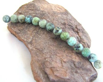 14 African Turquoise Matte Round Space Beads - Small Green Varied Greens With Matrix - Olive, Turquoise, Rust 6 mm