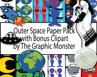 Outer Space Digital Download, Space Paper, Scrapbook Paper, Outer Space, Scrapbook Paper, Astronaut Paper Download