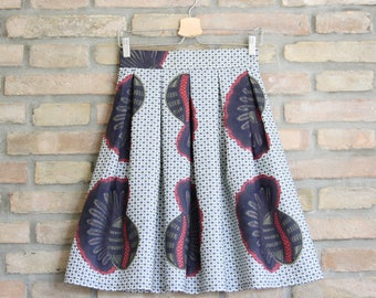 LOLA - handmade pleated skirt African Wax Ethno Chic