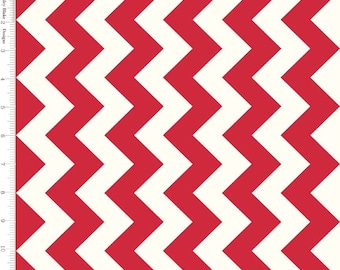 Red Chevron Fabric, Riley Blake Le Creme C640-80 Medium Chevron Red & Cream, Red Cotton Fabric, Chevron Quilt Fabric, Red Fabric