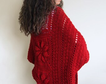 "Crochet Shrug PATTERN / Cocoon Cardigan Sweater / Embossed Crochet / PDF / Made in Canada / ""Celebration Shrug"""