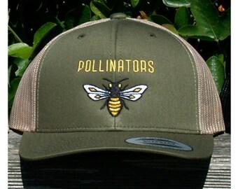 POLLINATORS Honeybee Trucker Hat in Olive Green & Tan