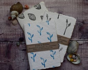 Hand-bound and printed notebook: Bamboo (blue)