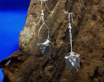 Sheep Earrings, Sheep jewellery, Lamb earrings, Silver, Handmade, Farm Animal Jewellery, Gifts for animal lovers,  Sheep Gifts, Lambs.