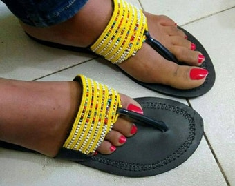 Yellow beaded sandals