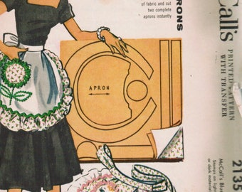 Vintage McCalls 2135 1950s Apron pattern with Appliqué RARE! Vintage sewing patern