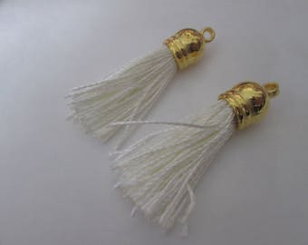 2 PomPoms 45 mm, tassel fringe in silk white