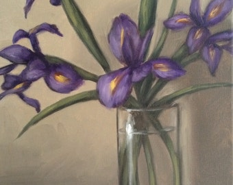 Original Oil Painting Purple Irises