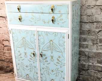 Upcycled Cabinet, Vintage Tallboy, Painted Cabinet, Nursery Furniture, Upcycled Furniture, Hairpin Legs, Painted Cupboard, Bedroom Storage