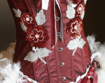 XXL - ROSE RED White Burlesque Corset Costume with feathers Plus Size 2XL