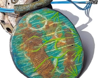 Ocean Wave Jewellery, Large Pendant Necklace, Beach Jewellery, Blue Gold and Green Boho Necklace, Wearable Art Jewellery, Polymer Clay, Gift